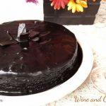 wine and chocolate cake